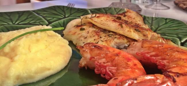 filé de pescada e camarão