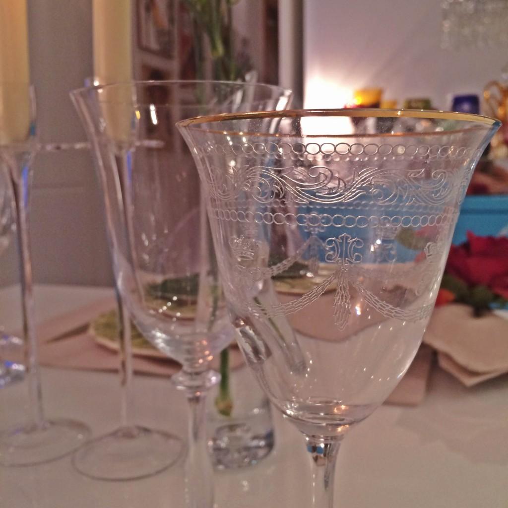 taças cristal filete dourado